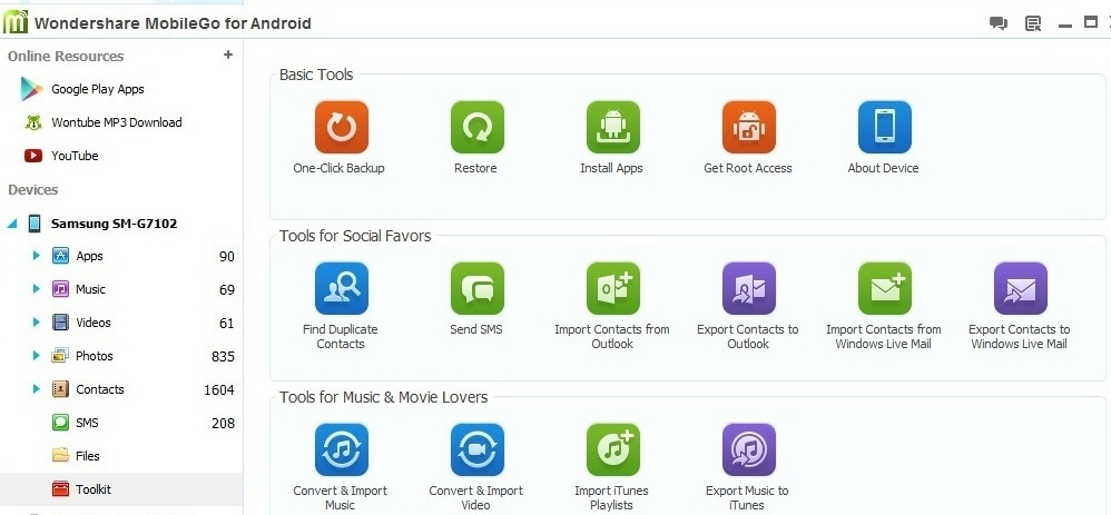 WonderShare MobileGo one click tools