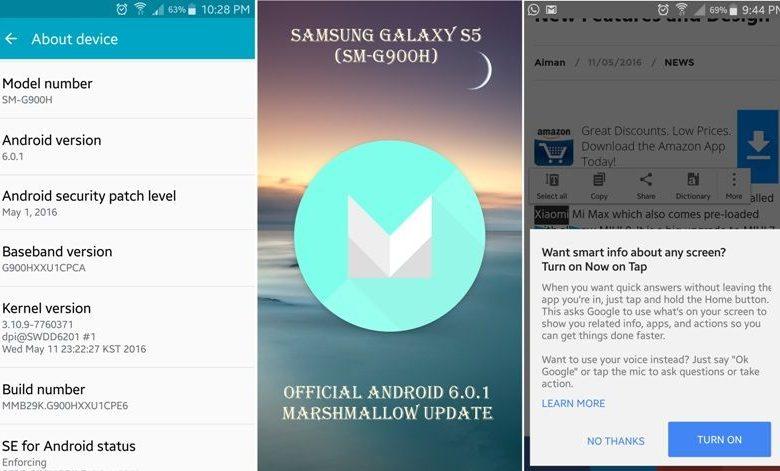 Samsung S5 G900H Marshmallow Update