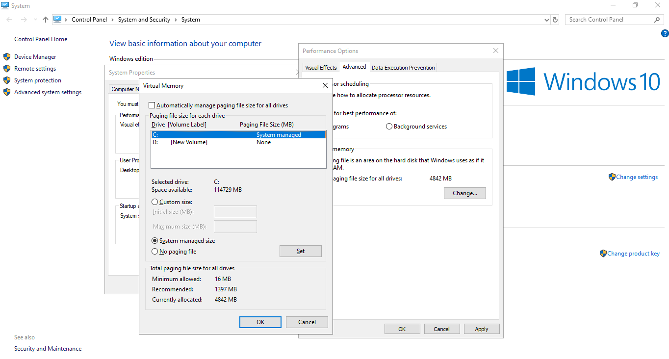 Windows 10 Virtual Memory Settings