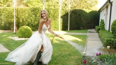 Photo of Amanda Holden Mows Her Lawn in a Wedding Dress
